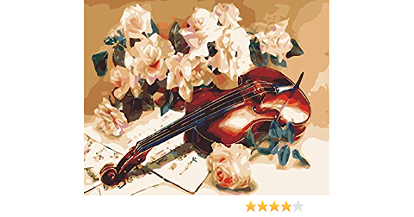 Frameless YQOQY Paint By Number for adult Flowers and violin DIY Oil digital Painting Kit For Kid Adult Beginner Pigment Decor Decoration canvas colour with Brushes 16*20 inches