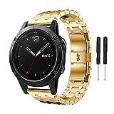 Xshuai 2017 Neuer Entwurf 170mm Edelstahl-justierbarer haltbarer Uhr-Armband-Band-Bügel für Garmin Fenix 5 Uhr (Gold / Rose Gold / Schwarz / Silber) (Gold)