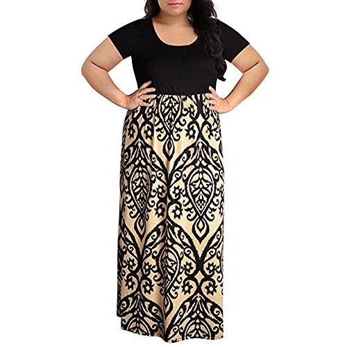 FRAUIT Plus Größe Kleider Damen Kurzarm Hohe Taille Abendkleider Elegant Maxikleid Chevron Print Langes Sommerkleid (Kleider 20er Verkauf Für Jahre)