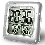 PTJ BALDR LCD Bad & Dusche Uhr, Wasserdicht Badezimmeruhr, An Der Wand Montiert, Saugnäpfe, Digitalanzeigen Zeit, Temperatur Und Innere Relative Feuchtigkeit