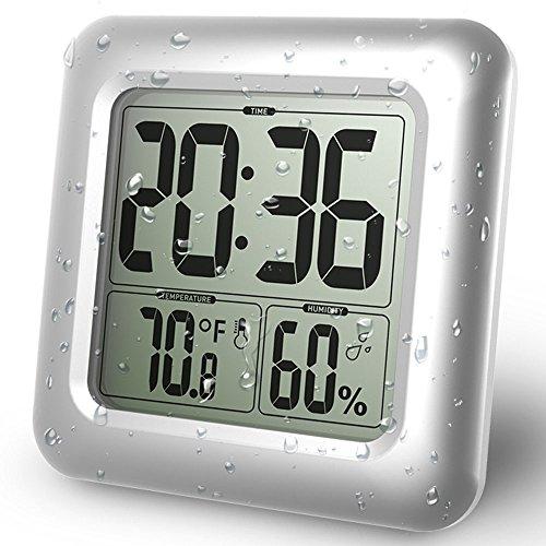 PTJ BALDR LCD Bad & Dusche Uhr, Wasserdicht Badezimmeruhr, An Der Wand Montiert, Saugnäpfe, Digitalanzeigen Zeit, Temperatur Und Innere Relative Feuchtigkeit - Lcd Dusche Uhr