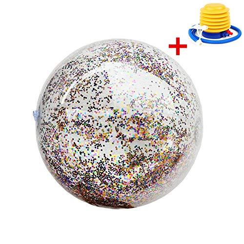 TechCode Giant Inflatable Beach Ball, Schwimmen Spielzeugball Pool Toy für Kinder & Erwachsene -Transparente Pailletten Aufblasbare Ball Splash & Play Beach Ball Size 24 Zoll (40cm) (Beach Ball Zoll 24)