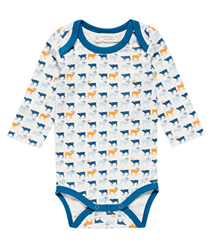 Sense Organics Baby-Jungen Body Yvon Retro Langarmbody, Mehrfarbig (Aop Reindeers Teal 082004), 74 (Herstellergröße: 6M)