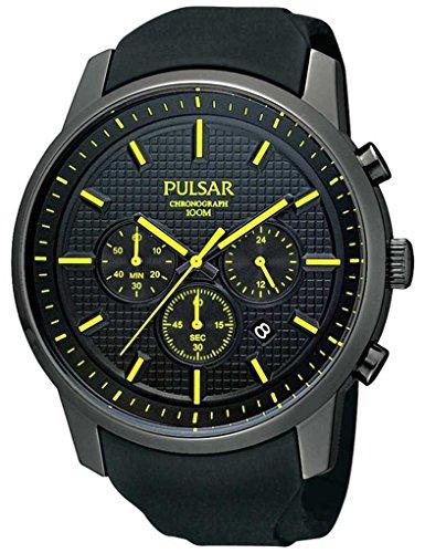 Pulsar Uhren PT3193X1 - Reloj cronógrafo de cuarzo para hombre con correa de caucho, color negro