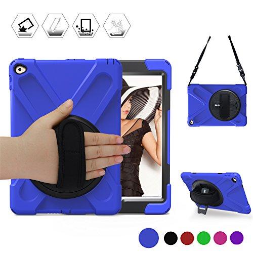 iPad Air 2 Hülle, braecn Heavy Duty Fullbody Robuste PC Silikon Schutzhülle mit 360 Grad Drehgelenk Ständer/A Handschlaufe und tragbar Schultergurt für Apple iPad Air 2 2014 Release (6. Generation) (blue) (Best Cases Für Ipad Air 2)