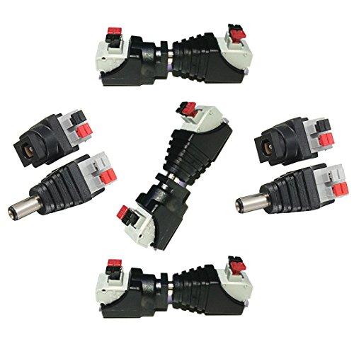 Liwinting DC Verbinder 5,5 x 2,1 mm DC Buchse + DC Stecker 5 Männliche und 5 Weibliche DC-Steckverbinder DC Jack Adapter Verbinder 5,5 x 2,1 mm für 12V / 24V LED-Streifen,CCTV-Kamera (5 Paare/Paket)