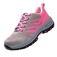 DoGeek Steel Toe Safety Shoes Work with Breathable Mesh for Summer, Trainers Lightweight Hiking Shoes for Mens and Women Pink Grey