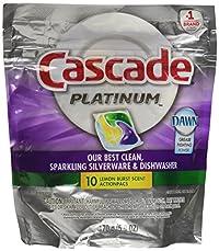 Cascade Platinum Actionpacs Lemon Burst Scent Dishwasher Detergent 10 Count