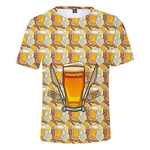 UFODB Oktoberfest Herren T-Shirt Blume Fun-Shirt Shirt Premium 3D Print Kurzarm Oberteile Sportshirt Longshirt Tops Oversize, (Top Gruppe Halloween Kostüme)