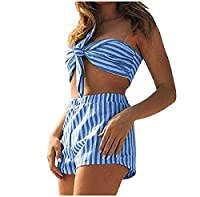 Tootlessly Women Sexy Crop Top and Shorts Two Piece Set Tracksuit Blue XS