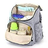 Baby Wickeltasche Windelrucksack mit großer Kapazität Taschen, Wickelrucksäcke unterstützen jeden Kinderwagen mit Wickelauflage Rucksack Multifunktionale Tasche Grau