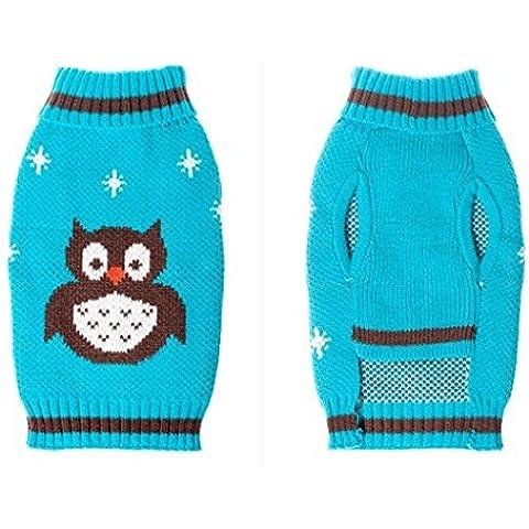 Tongshi Perro mascota buho impreso ropa cachorro de invierno suéter traje abrigo