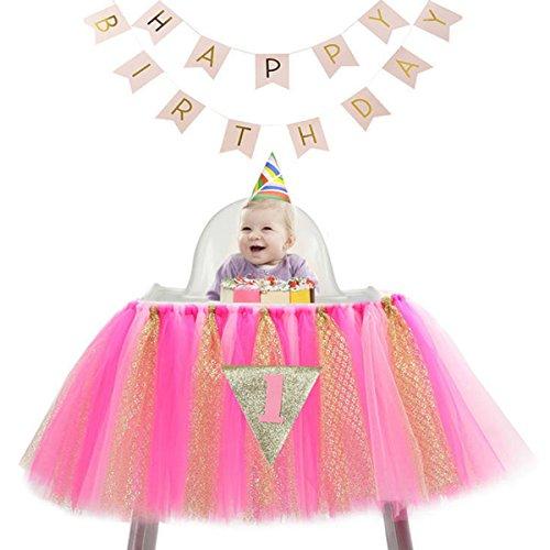Sumchimamzuk Geburtstag Deko Baby Prinzessin Tutu Tüll Hochstuhl Glanz Rock mit Geburtstag Banner zum 1. Geburtstag ()