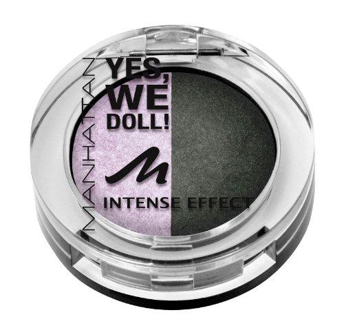 Manhattan Yes, we doll! Intense Effect Duo Eyeshadow Nr. 02 Prima Ballerina Farbe: Flieder / Dunkelgrün Inhalt: 5g gebackener Lidschatten für Smokey Eyes. Eyeshadow für strahlen schöne Augen. -