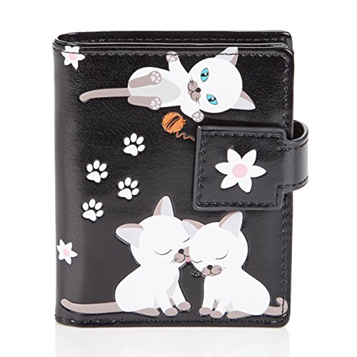 Shagwear portafoglio per giovani donne small purse : diversi colori e design: (maliziosi gattino nera/ playful kittens)
