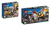 LEGO City 2er Set: 60184 Bergbauteam + 60185 Power-Spalter für den Bergbau