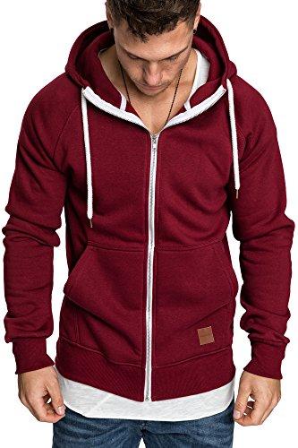 Amaci&Sons Herren Zipper Kapuzenpullover Sweatjacke Pullover Hoodie Sweatshirt 4026 Bordeaux XL