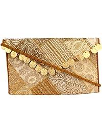 H L FASHION Women's Sling Bag (Gold & Off-white)