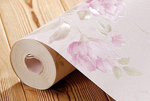 LXPAGTZ Verdickte warm pastorale Tapete Blume Mädchen rosa Prinzessin Zimmer Romantisches Schlafzimmer Wohnzimmer PVC Tapeten Blumenmuster lange 9.5 m * Breite 0,53 m (5 m ²) , 99300 sweet