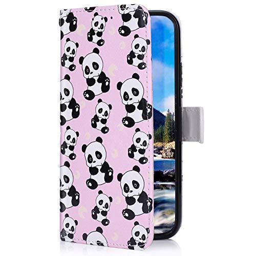 Uposao Kompatibel mit Samsung Galaxy A60 Hülle mit Bunt Muster Motiv Brieftasche Handyhülle Leder Schutzhülle Klappbar Wallet Tasche Flip Case Ständer Ledertasche Magnet,Cool Panda