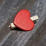 EinsSein 100x Deko Klammern Herz rot Holz rot rote rotes Mini Herz Herzen deko klein kleine Klammern Holzklammern Hochzeit Wäscheklammer Tischkarte Blumenklammer Blumen Gastgeschenke - 3