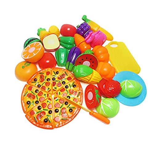 Foto de Los niños juegan el kit de cocina de cocina de simulación de casa, 24 piezas de cocina de vegetales de frutas de plástico juegan el juego de juguetes de corte de alimentos de juego