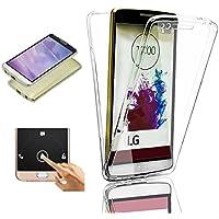 LG G3 Funda, 2ndSpring 360 Grados Doble Delantera + Trasera De Gel Integral Silicona TPU Carcasa Case Cover para LG G3,Claro