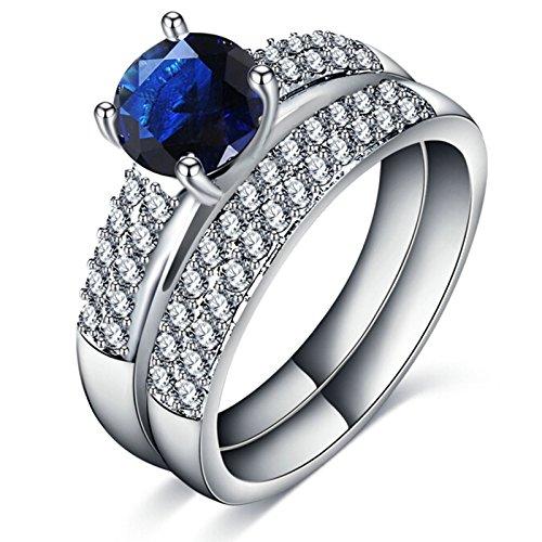 Adisaer Verlobungsringe Damen Ring Silber Zwei Ringe Set Zirkonia Blau Ring Größe 52 (16.6) Hochzeit