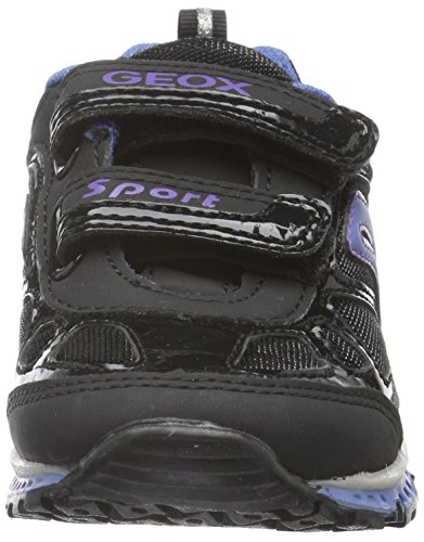 Geox J Bernie D, Baskets Basses Fille Schwarz (Black/Turquoisec0490)