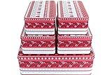 GDWorld 5er Set Gebäckdose Weihnachts Muster rot Weiss eckig Weihnac