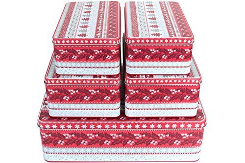 GDWorld 5er Set Gebäckdosen eckig Weihnachtsmotiv Tannenbaum