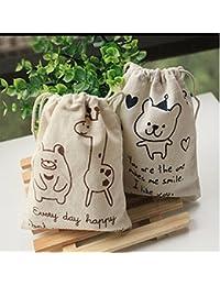 EasyBuy India Small Bear : Cute Bear Giraffe Fabric Drawstring Bags Cotton Drawstring Tote Home Organizer Supplies...