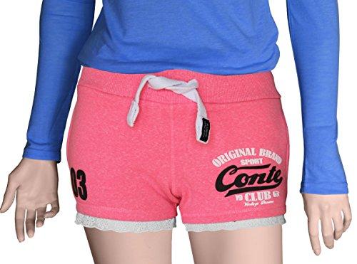 M.Conte Concetta donne breve Pantaloni Short Sweat-Pants della tuta di sport pantaloni blu neon rosa Bianco Rosso S M L XL rosa brillante