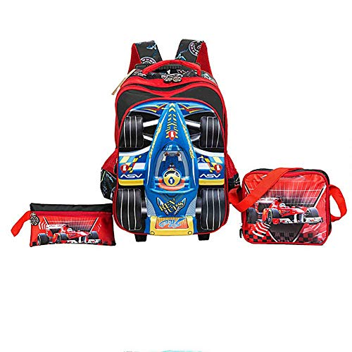 2dd82fa053a0 HCC& 3D Racing Car Trolley School Bags Waterproof Boy Rolling Backpacks  3PCS With Pencil Case Lunch Bag Recommended Grade: 1~6,Red