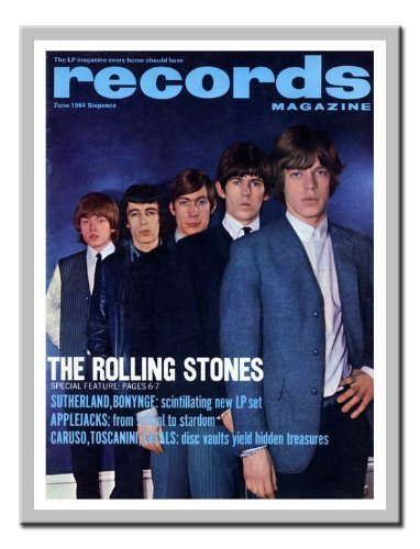 iPosters Rolling Stones Record Magazin Cover Print Juni 1964Memo Board, Magnet Silber gerahmt–41x 31cms (ca. 40,6x 30,5cm)