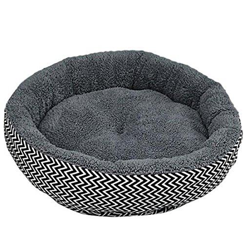 Nicebuty - Cojín/cama para animales de compañía (cachorros, gatos, perros...) en color gris con peluche en la parte interior