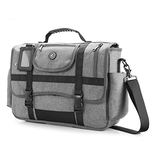 coolbell Messenger Bag, Schultertasche Laptop Tasche Fall Sport Handtasche Business Aktentasche Multifunktions-Travel Bag passen 39,6 cm Laptop für Männer/Frauen (schwarz) grau grau 15,6 zoll (Messenger Travel Bag)