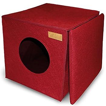 Lit de chat KaraLuna I Feutre de haute qualité I Convient pour Ikea Kallax ou Expedit I Maison de Chat I Boîte Carrée Maison pour Chiot et Chaton
