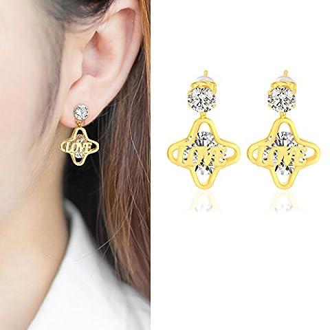 X&Y ANGEL ER0683 Damen-Ohrringe, mehrfarbig, vergoldet mit 18 Karat Gold