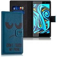 kwmobile Funda para Wiko Fever 4G - Wallet Case plegable de cuero sintético - Cover con tapa tarjetero y soporte Diseño Don't touch my Phone en negro azul