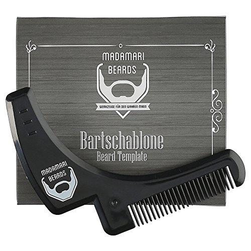 Preisvergleich Produktbild Madamari Bartschablone & Infografik als Anleitung – Inklusive Bartkamm-Funktion BEARDS - Perfektes Styling - Rasierhilfe