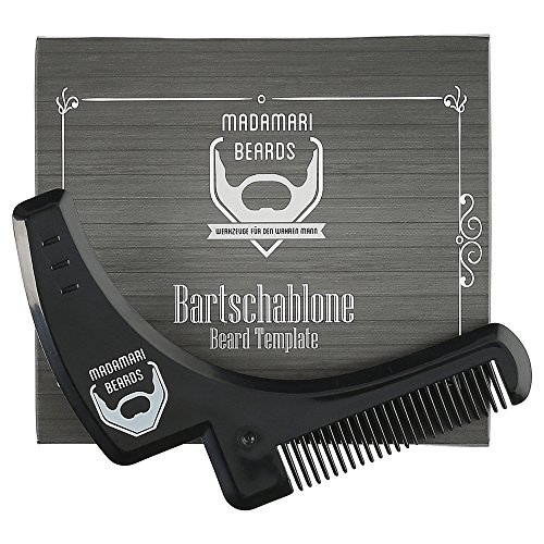 Madamari Bartschablone & Infografik als Anleitung – Inklusive Bartkamm-Funktion BEARDS - Perfektes Styling - Rasierhilfe