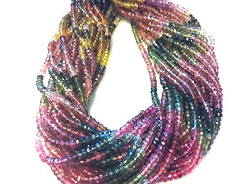 Beads Gemstone 14 Inch Long Strand Watermelon Turmaline- Micro Faceted Roundels.2-3mm Code-HIGH-39102