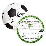 K! 12 Einladungskarten Kindergeburtstag Fußball,Die Kinder Geburtstagseinladung für alle Fußballbegeisterten Jungen und Mädchen