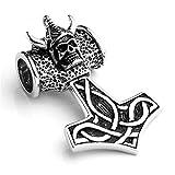 JOVIVI Edelstahl Schmuck Thors Hammer Amulett Dreiecksknoten Trinity Keltisch Knoten Herren-Anhänger ,Punk Schädel Design,Edelstahl,mit Geschenk Tüte