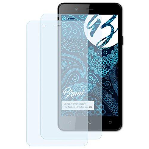 Bruni Schutzfolie für Archos 50 Titanium 4G Folie, glasklare Bildschirmschutzfolie (2X)