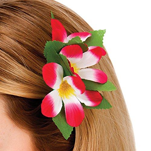 Hawaiian 2 Tone Flower Hair Clip Fancy Dress Accessory Luau Summer Beach Party