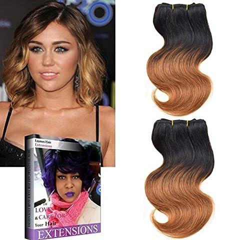 Emmet 2bundles/Lot de 100 g 50 g/pc Taille courte 20,3 cm brésilien teindre Extension de cheveux humains tissage 100% cheveux humains