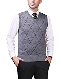 Zicac Pull sans Manches Col V en Tricot Homme