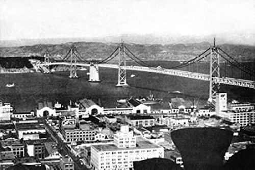 The Poster Corp Vintage San Francisco - Oakland Bay Bridge San Francisco CA #2 Kunstdruck (30,48 x 45,72 cm) (Oakland, Ca-poster)